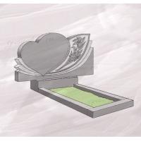 Гранитный памятник горизонтальный в виде сердца – 080