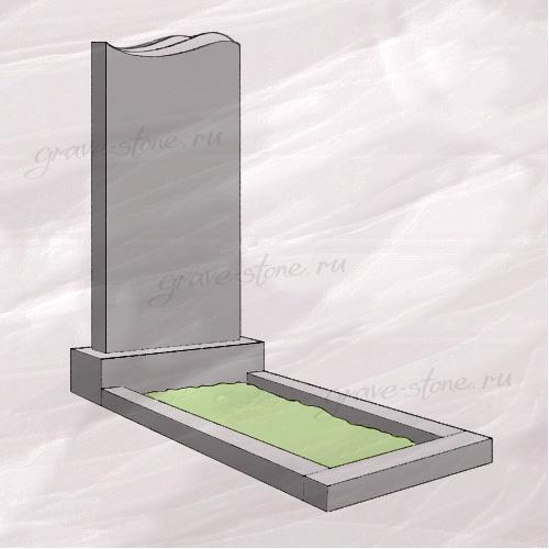 Гранитный памятник вертикальный с резным верхом в виде волны - 046
