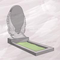 Гранитный памятник вертикальный резной с лебедем – 189