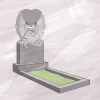 Гранитный памятник вертикальный резной с сердцем и лебедем – 200