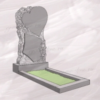 Гранитный памятник вертикальный резной в виде сердца с розами – 202