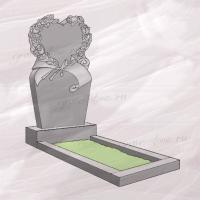 Гранитный памятник вертикальный резной с изображением сердца и розами – 203